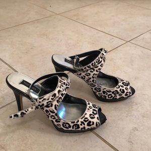 Peep toe cheetah heels